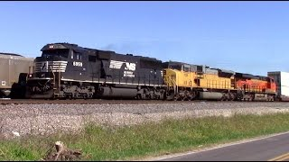 Norfolk Southern SD60E leads on the BNSF transcon!