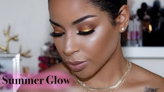Summer Inspired SMOKEY Eyes and GLOWING Skin! | BeautybyLee