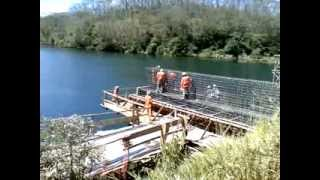Building Up A Bridge Over A River