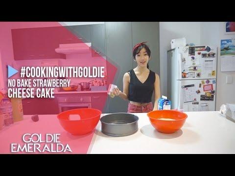 No Bake Strawberry Cheese Cake #CookingWithGoldie | Goldie Emeralda