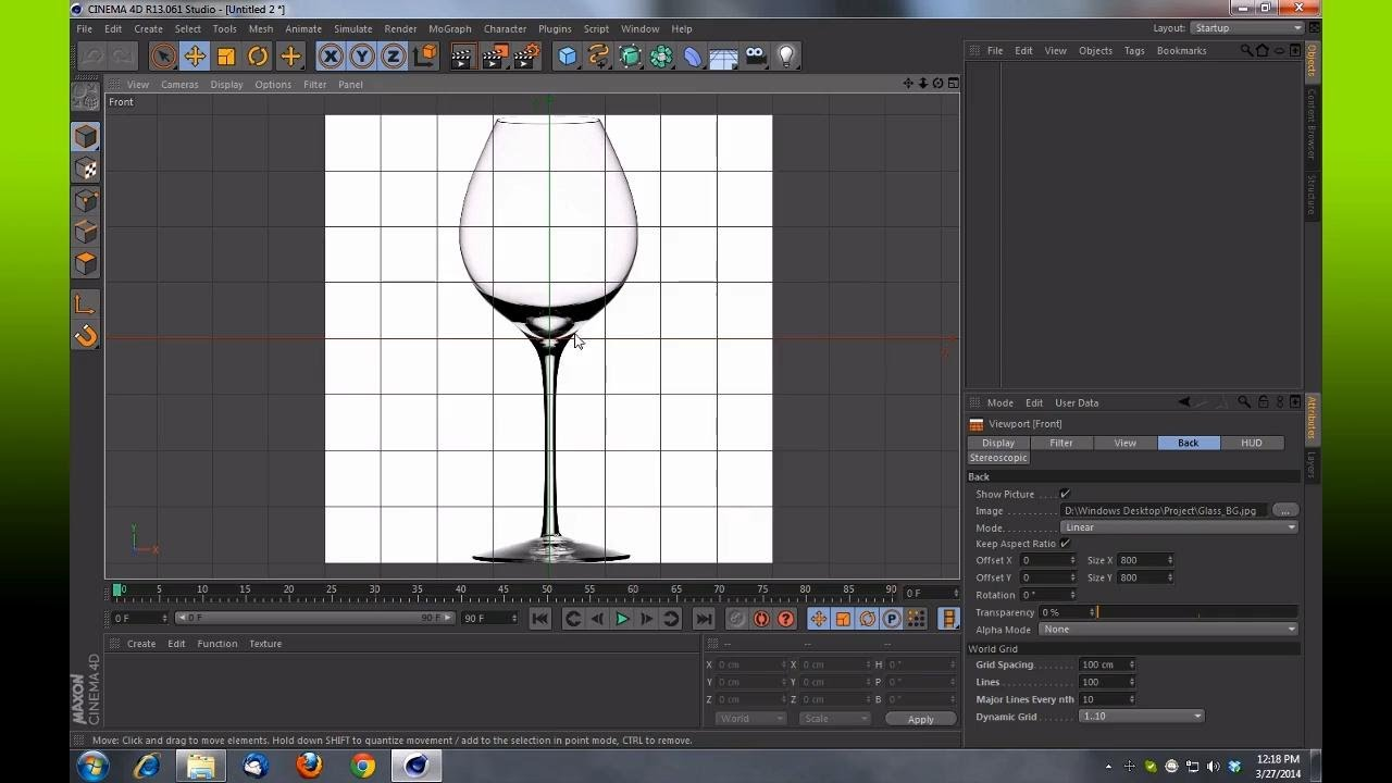 cinema 4d how to set up a background reference image