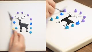 Fireflies And Deer Acrylic Painting on Canvas Step by Step #504|Satisfying ASMR смотреть онлайн в хорошем качестве - VIDEOOO