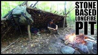 LEAN TO Base Camp: Stone Based LONG-FIRE PIT & Overnight Camp