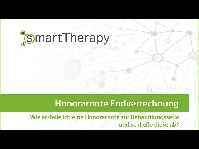 smartTherapy: Hononrarnote Endverrechnung