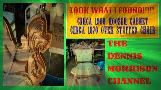 LOOK WHAT I FOUND: A HOOSIER CABINET AND VICTORIAN DRAGON CHAIR!!!!