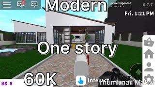 60K one story modern home! Roblox Bloxburg Speedbuild