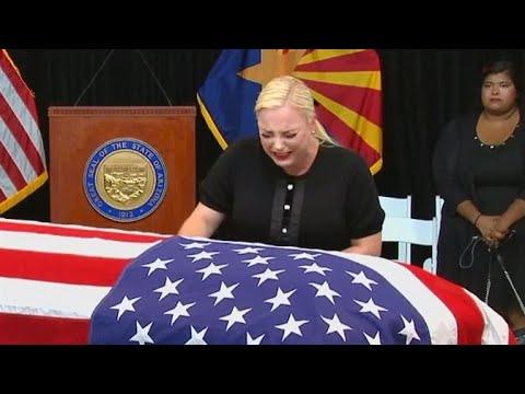 Meghan McCain Cries Over John McCain's Casket During Memorial
