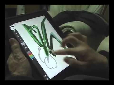Ông cụ 80 tuổi vẽ tranh trên iPad