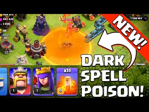 Clash of Clans | NEW DARK Spell POISON Gameplay! | Max lvl 4 Poison Spell Revealed!