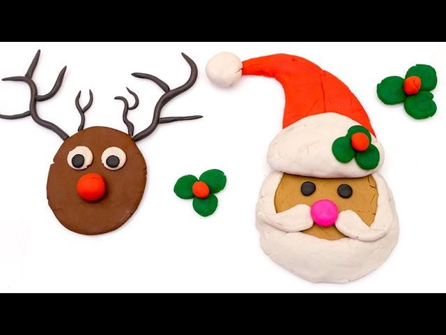 DIY How to make Play doh Santa Claus and Reindeer | Ply doh videos kids |
