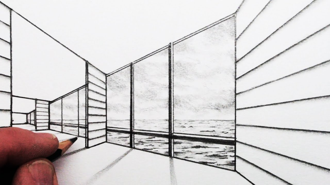How To Draw 2 Point Perspective A Room With A View Youtube