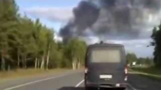 Место крушения Як-42 с хокк.ЛОКОМОТИВА.Видео очевидцев