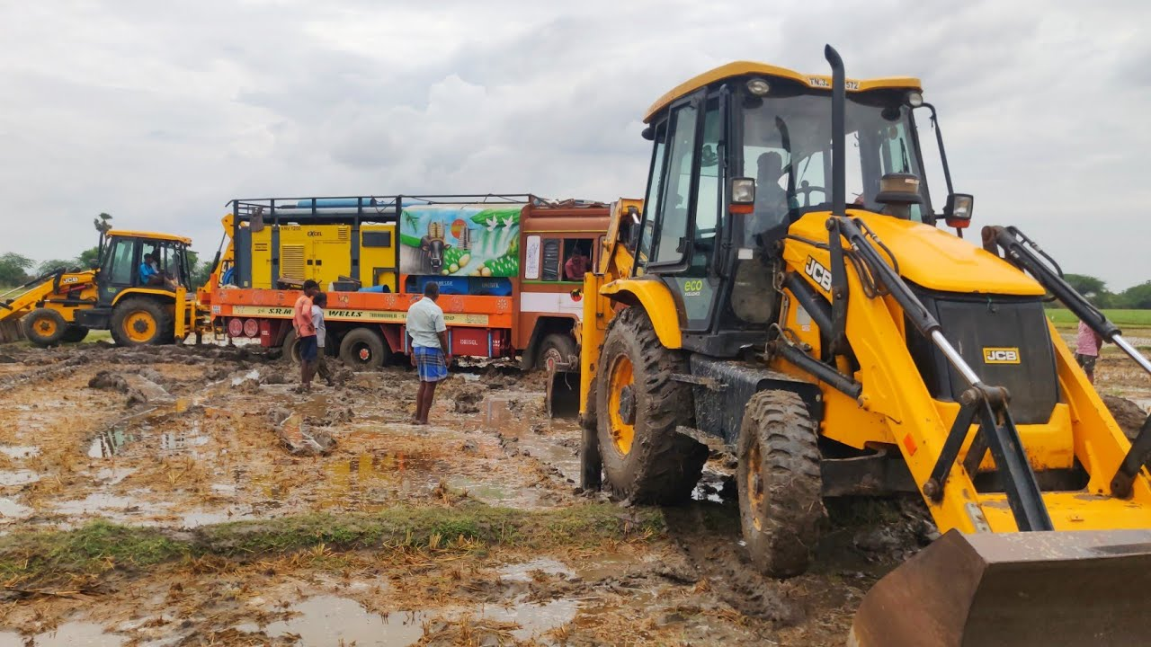 Bore well lorry stuck in mud JCB Machine pulling out from mud | JCB VIDEO | JCB STUNT