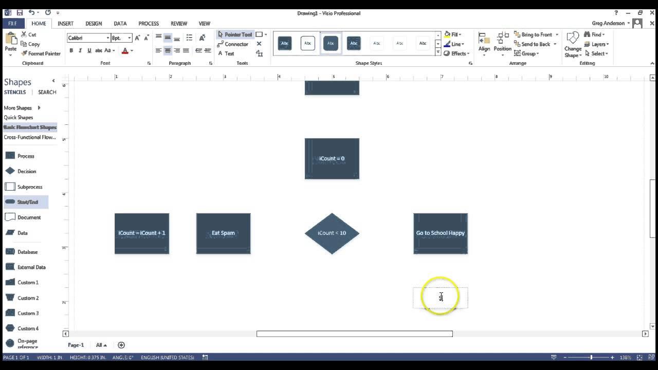 Create  flowchart using visio also youtube rh