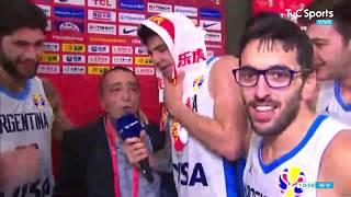 LOCURA TOTAL: el festejo de los jugadores de la Selección de Básquet con José Montesano