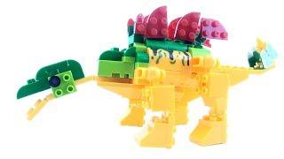 Stegosaurus block Dinosaur - Lego Creator compatible Dinosaur set - Dinosaurs speed build