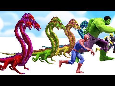 Thumbnail: Colors Spiderman Superheroes Run Away Monster Three Head - Learn Colors Video For KIDS Toddler