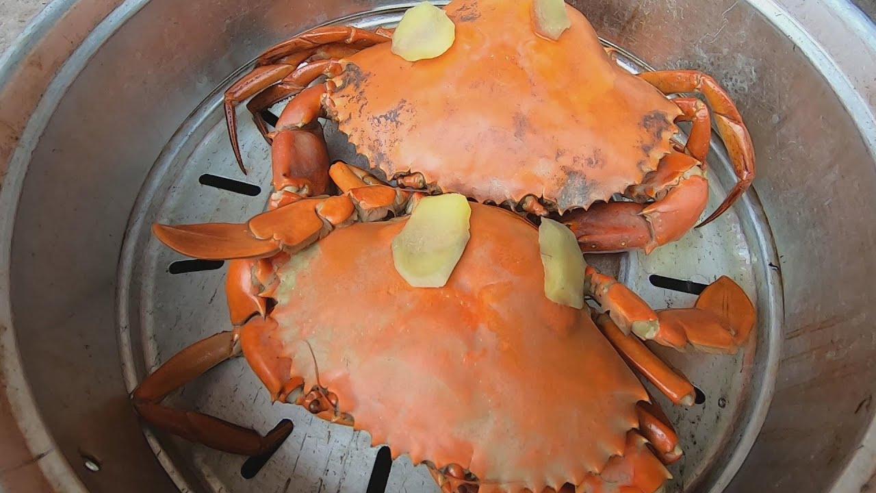 刀仔煮蒸两大膏蟹和煮一锅石头蟹,一群孩子围着抢着吃,真美味