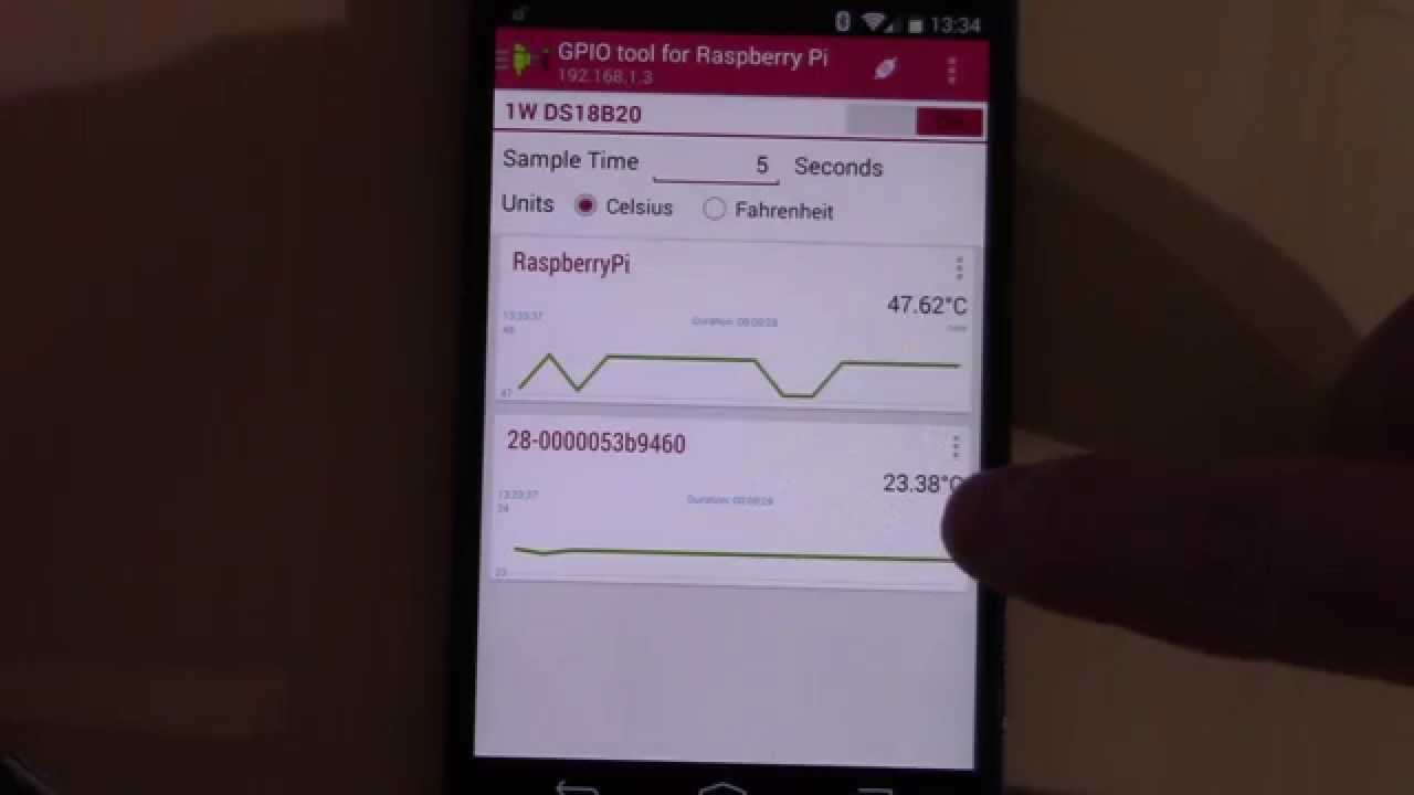 DS18B20, Raspberry Pi & GPIO Tool Android App Temperature Monitoring