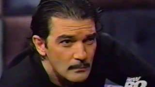 Late night with conan o'brien. guest antonio banderas. interviews banderas about his new movie spy kids. highlights includes both of them tying on fake...