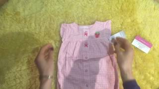 Обзор Carters песочник розовый с клубничкой