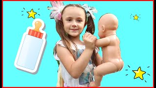 Baby doll Baby Bon crying-found in the woods Stories for Kids
