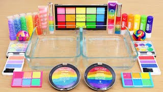 Rainbow Bright vs Pastel - Mixing Makeup Eyeshadow Into Slime ASMR