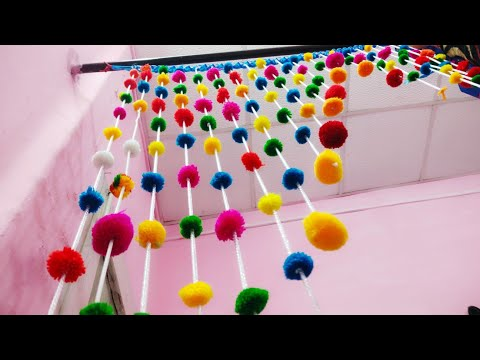 how to make beautiful pom-pom door,/ hanging and curtain hol