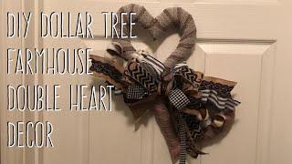 DIY Dollar Tree  Farmhouse  Double Heart  Decor