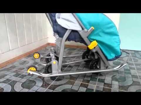 Санки коляска Ника Детям 7 2 Люкс механизм работы колес