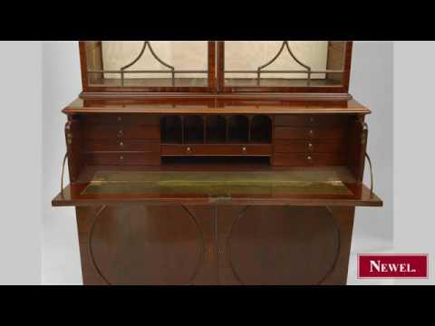 Antique English Sheraton (18/19th Cent) mahogany secretary