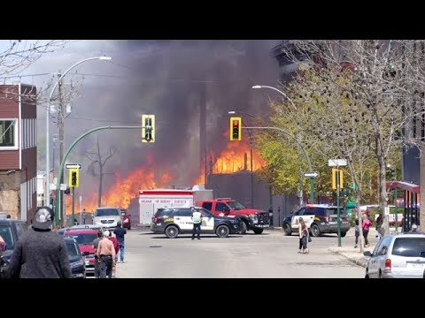 Fire devours downtown Brandon, Man.