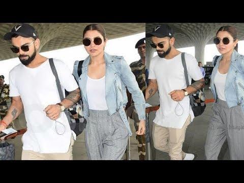 Anushka Sharma And Virat Kohli Power Couple Entry At Airport