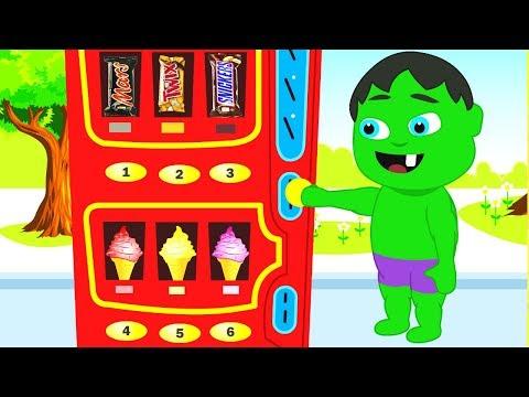 SUPERHERO BABIES FIND A VENDING MACHINE ❤ Spiderman, Hulk & Frozen Elsa Play Doh Cartoons For Kids