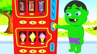 SUPERHERO BABIES FIND A VENDING MACHINE ❤ Spiderman, Hulk & Frozen Elsa Play Doh Cartoons For Kids
