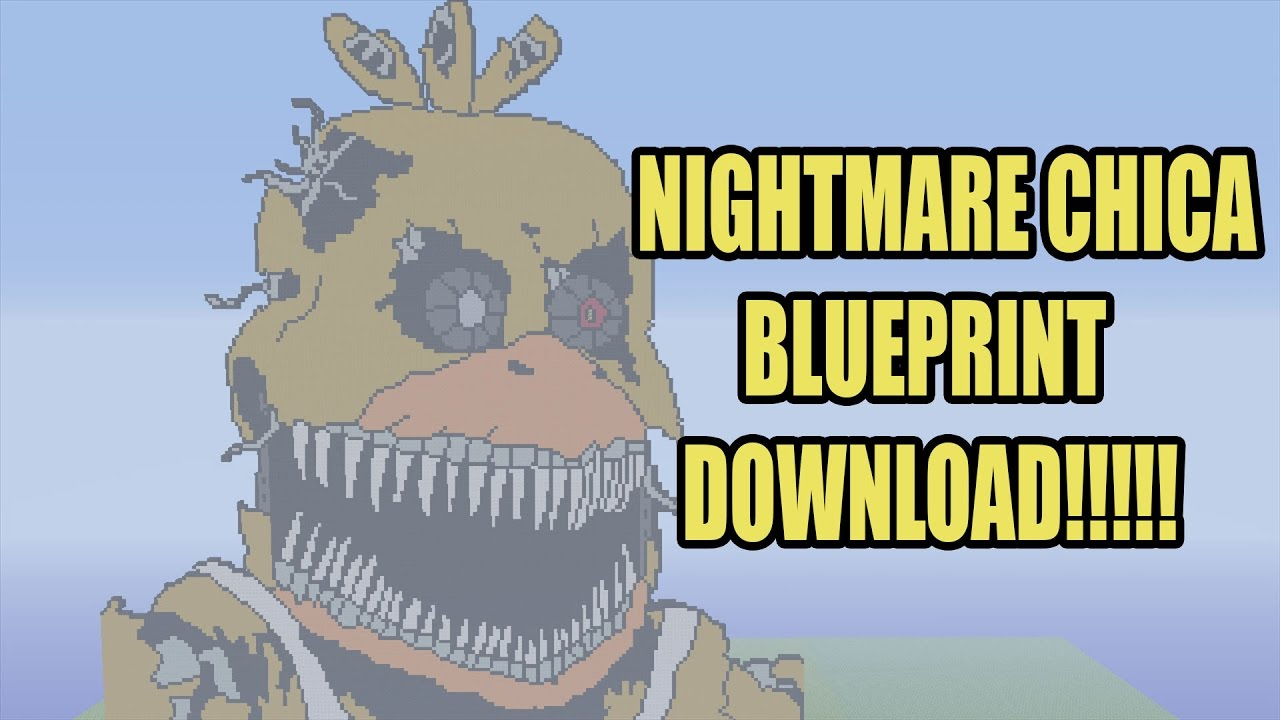 How To Make Nightmare Chica Pixel Art | Minecraft Blueprint Download
