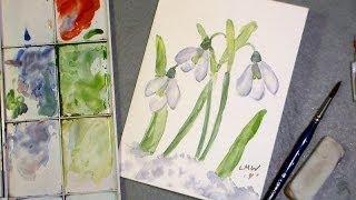 Simple Snowdrops Watercolor Tutorial