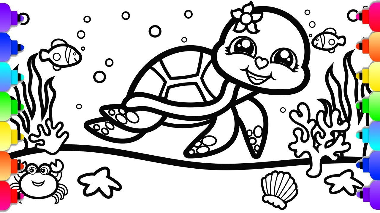 - GLITTER Sea Turtle Coloring And Drawing For Kids 💜🐢💜Glitter Sea