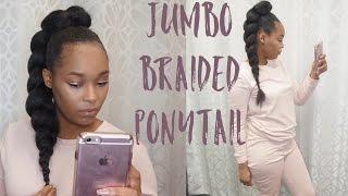 how to   jumbo braided ponytail  short natuarl hair   twa