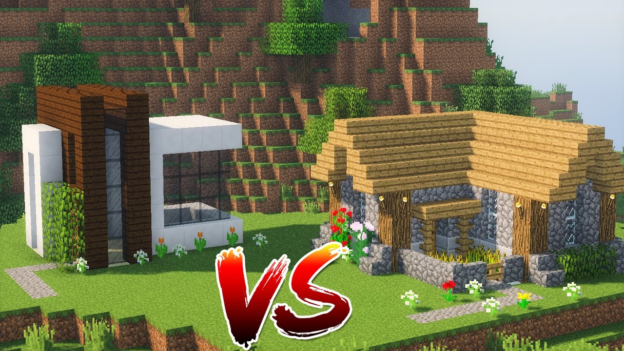 Minecraft casa moderna vs casa r stica qual vencer for Casa moderna o rustica
