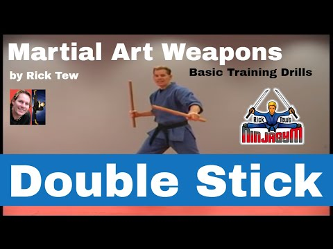 Double Stick Training Drill in the Martial Arts by Sensei Rick Tew and NinjaGym.com