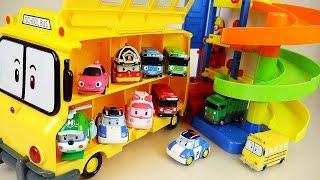 Robocar Poli School bus and Parking Tower car toys play