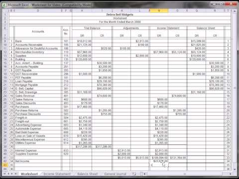 Printables Accounting Worksheet worksheettutorial avi youtube avi