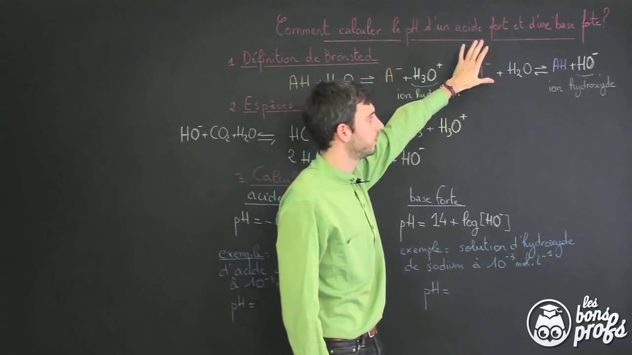 calculer le ph d une base forte d un acide fort physique chimie terminale les bons profs