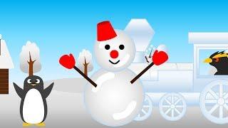 童謡の「雪やこんこ」のBGMで 雪が積もった街でペンギンが雪だるまを作...
