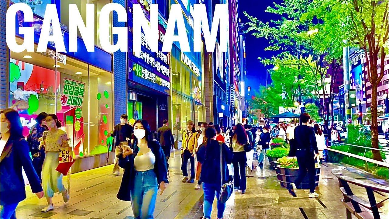 [4K SEOUL] Walk Seoul Korea  강남역  Gangnam Station night view in autumn (Binaural 3D City Sounds)