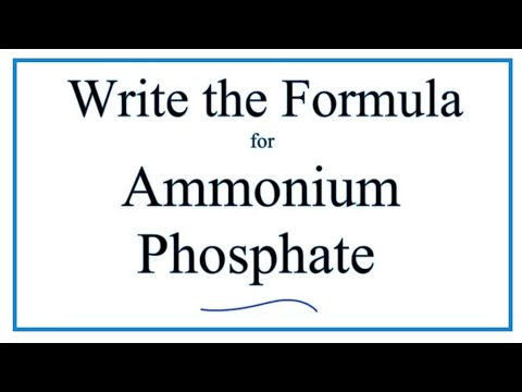 How To Write The Formula For Ammonium Phosphate