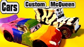 Pixar Cars Custom Diecast Rainbow Lightning McQueen and Zebra Sarge with Miss Fritter Learn Colors