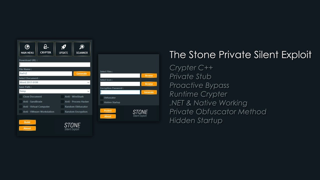 The Stone Private Silent Exploit & Stone Crypter - 2019 [ BEST & FUD ]