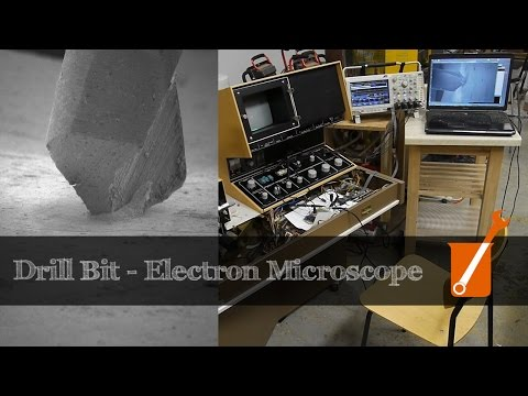 Electron microscope image capture via microcontroller (with drill bit animation)